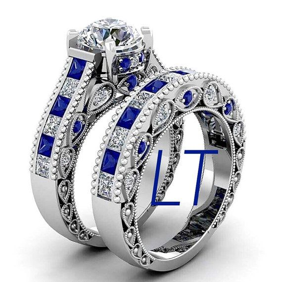 Doctor Who Inspired 6.25 CTS Total Tardis Blue Sapphire and Swarovski Diamond Deluxe Engagement Bridal Ring Set