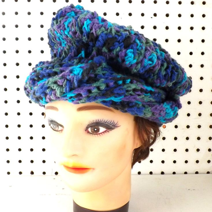 Peacock Ombre Blue Beret Hat Infinity Scarf and Fingerless Gloves Reserved for randiavery 60.00 USD by #strawberrycouture on #Etsy - MUST SEE!