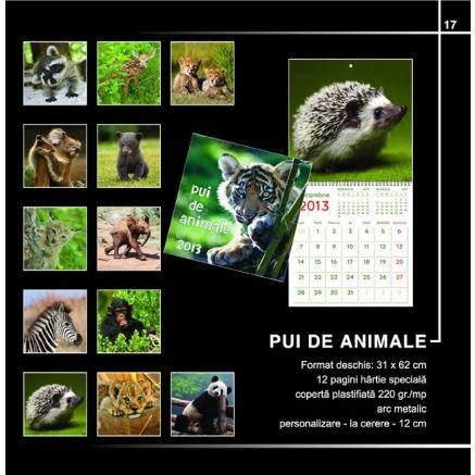 Calendar Pui De Animale - Format: 31 x 62 cm 12 pagini hartie speciala Coperta plastifiata 220g Arc metalic