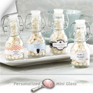 personalized mini glass favor bottle with swing top set of 12 wedding favors