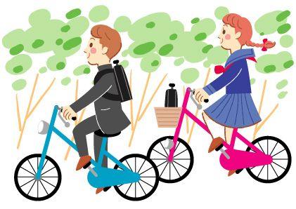 自転車で登校する男子中学生と女子中学生のかわいいイラスト 家族