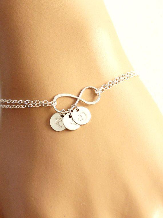 Bracciale personalizzato di Infinity, Infinity Bracciale, bracciale iniziale, damigelle d
