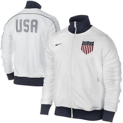 Nike US Soccer Authentic N98 Jacket - White/Navy Blue  $89.95