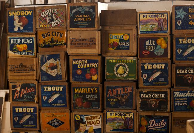 Reclaimed wooden crates; a majority with vintage fruit labels in full color. *Visit our Facebook page for a posting on design ideas reusing wooden crates here. Dimensions: varied, most are about 10″ h x 12″ w x 19.5″ l Quantity: 140 Price: starting at $20/each; price dependent on condition, age, and label.