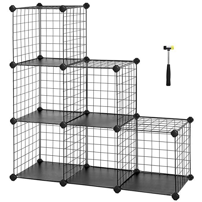 Songmics 6 Cube Metal Wire Storage Organizer Diy Closet Cabinet And Modular Shelving Grids Wire Mesh Rack Boo Stackable Storage Bins Diy Closet Cube Storage