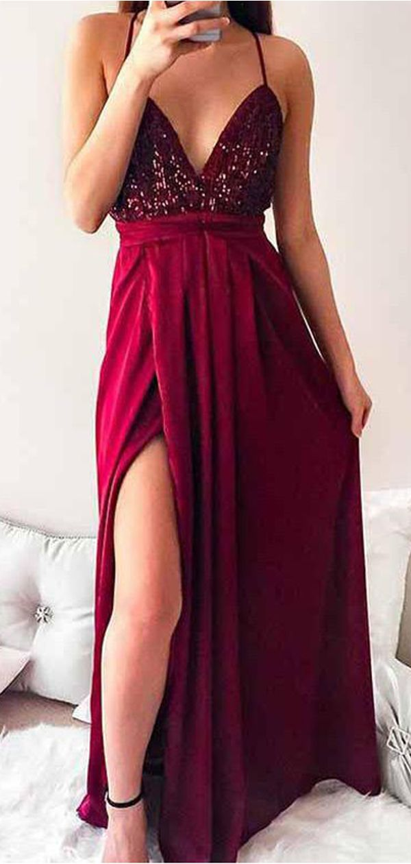 ccaf17bbc9 Sexy Backless Sequin Dark Red Cheap Long Evening Prom Dresses