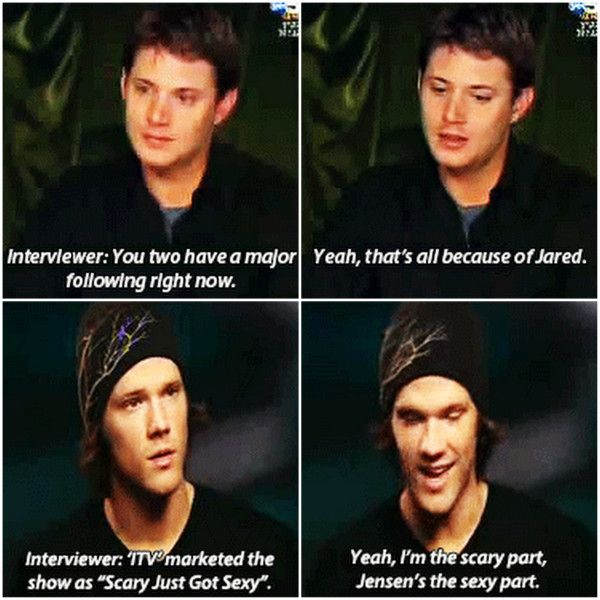 THIS and THIS is what makes Supernatural the best TV show ever.  The bond between Jensen Ackles  Jared Padalecki