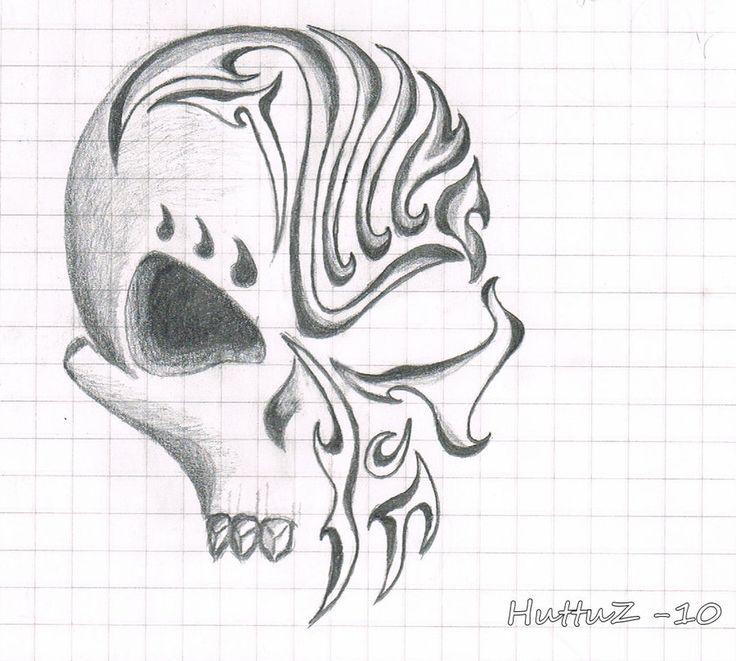 Awesome Drawings of Skulls | Tribal Skull by HuttuZ on deviantART