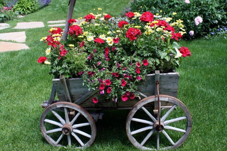 outdoor garden flower wagon