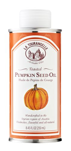 La Tourangelle Toasted Pumpkin Seed Oil  Available Sizes: 250 mL ($14.99), 1 gallon (inquiry required)