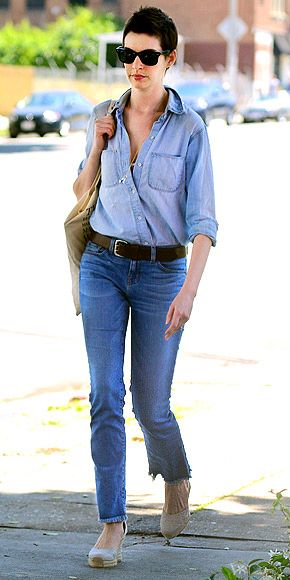 """ANNE HATHAWAY  Denim-on-denim is only a don't if you wear pieces in the same wash. Anne pulls off the """"jean tux"""" with a chambray button-down tucked into slightly darker pants, breaking up the fabrics with a thick belt and long pendant."""