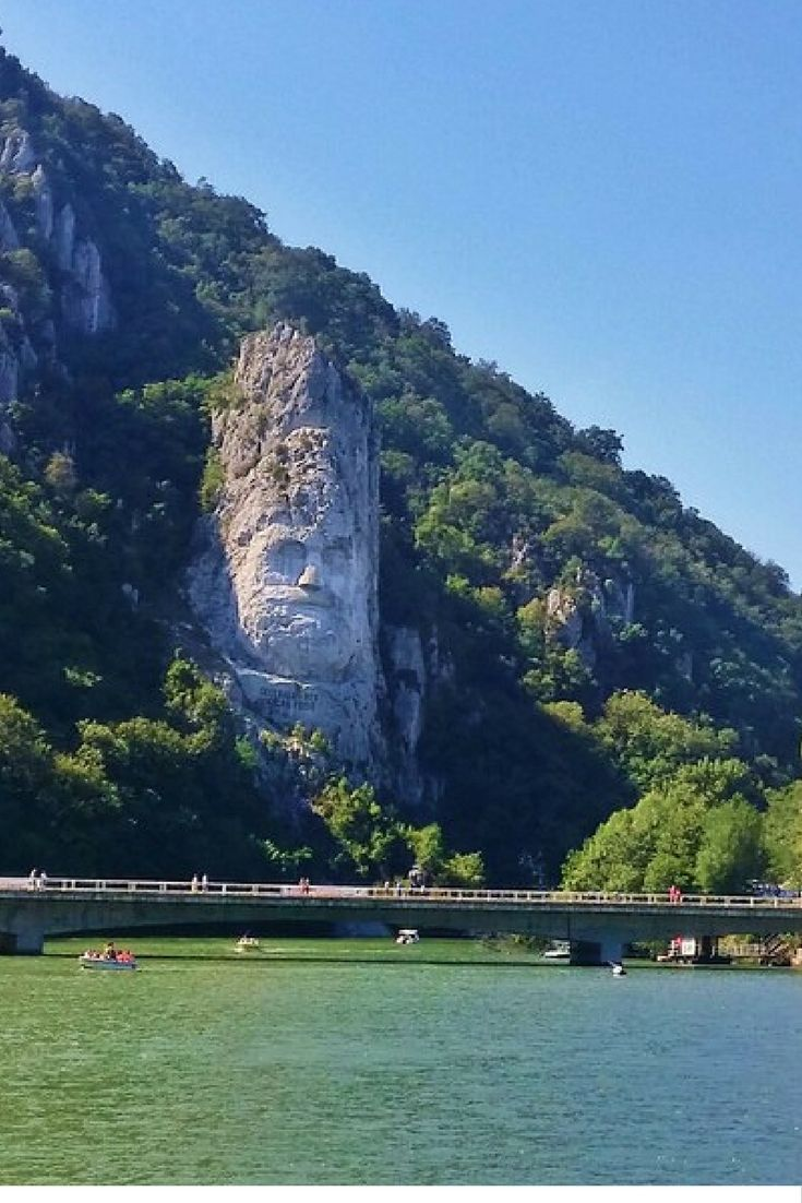 Rock sculpture of Deceblaus.  This is Europe's version of Mount Rushmore in the U.S, and is the highest rock sculture in Europe at almost 40 m! It's one of the highlights of the Roman Emperors Route. The only way to see it is by boat on the Danube. Decebalus was the last king of Dacia, which is present day Romania.  The only way to see it is from the Danube.