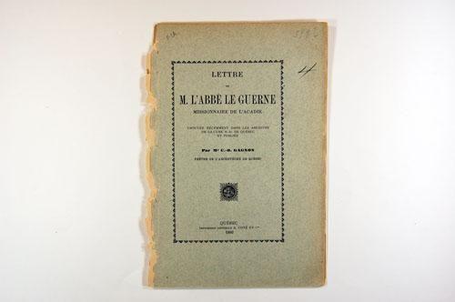 1757 - FRANÇOIS LE GUERNE : Lettre de M. l'abbé Le Guerne, missionnaire de l'Acadie