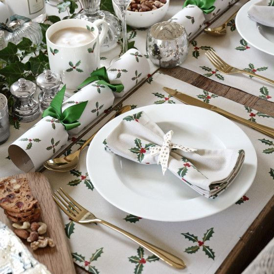 Perfect For A Festive Table Setting The Stone Coloured Holly Berry Napkins Have Beautiful Gold Christmas Tableware Christmas Table Settings Christmas Table