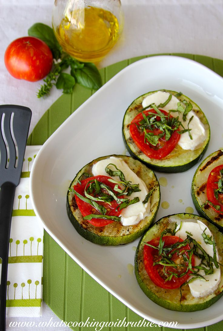 Grilled Zucchini Bruschetta is a delicious appetizer for your next #bbq by whatscookingwithruthie.com #recipes