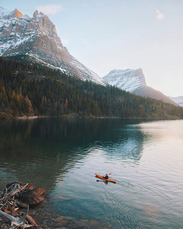 Paddling the far end of St Mary Lake in Glacier Park, Montana. Just behind me…