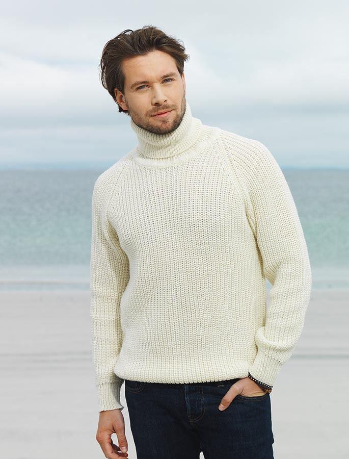 Fisherman S Ribbed Wool Turtleneck Sweater Мужские
