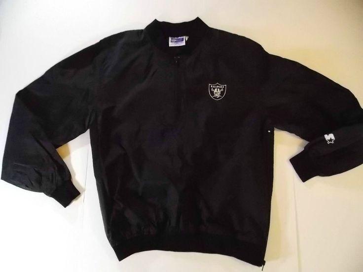 Large Mens Starter Oakland Raiders 1/4 Quarter Zip Jacket Nylon Pullover VTG T2 #Starter #OaklandRaiders