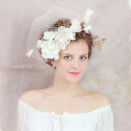ベール付きヘッドアクセサリー 髪飾り ブライダル 花 結婚式