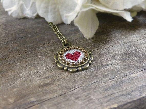 Tiny cross stitch heart necklace Valentine's Day by TriccotraShop