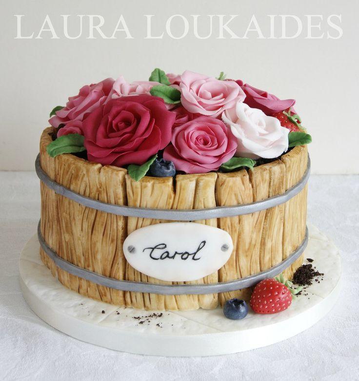 Flower Barrel Cake  on Cake Central