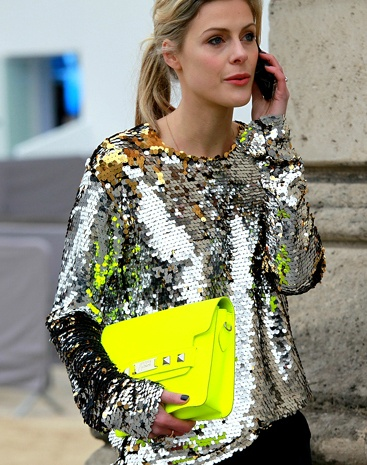 I know I dont need celebrities in my life,but it nice to see them active neon & sequins. details in street style