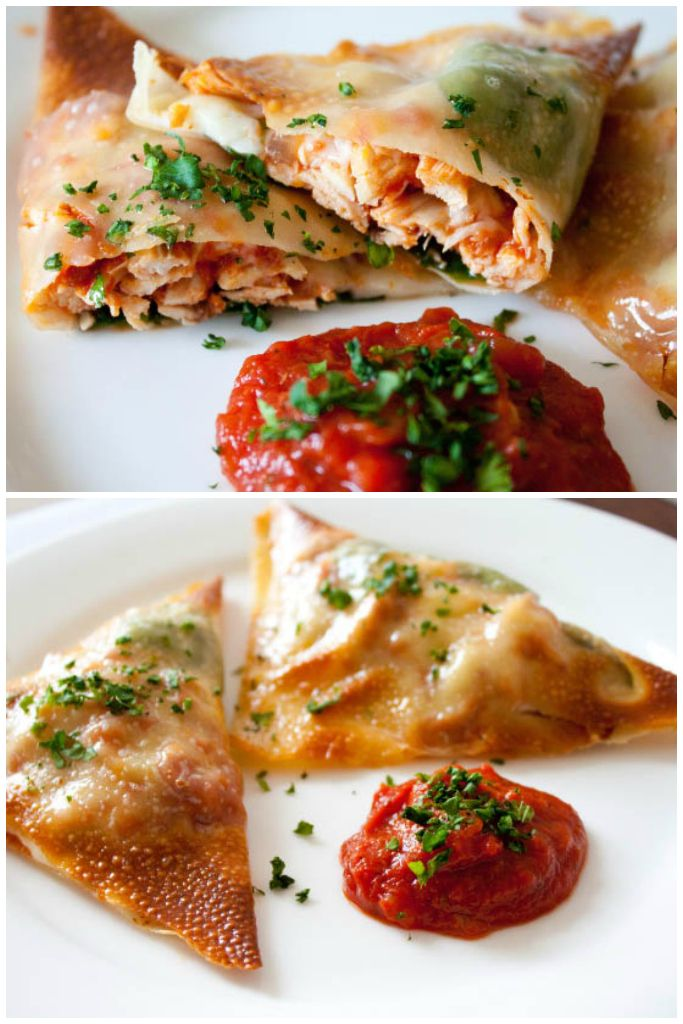 These baked chicken parmesan wraps use egg roll wrappers for a low calorie way to enjoy chicken parmesan! Kid friendly and crowd pleasing!