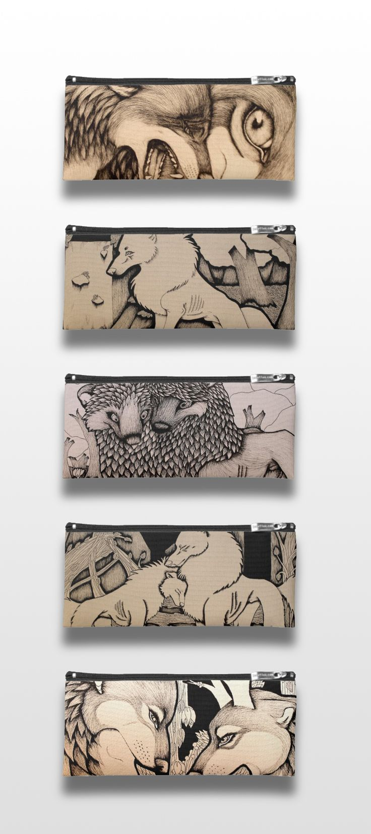 Black and White Illustrated Wolf Pencil Cases  #wolf_products #wolf_art #wolf_illustration #cute #sad #detailed #art #illustration #animals