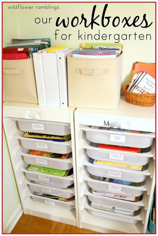 our kindergarten workboxes - Wildflower Ramblings