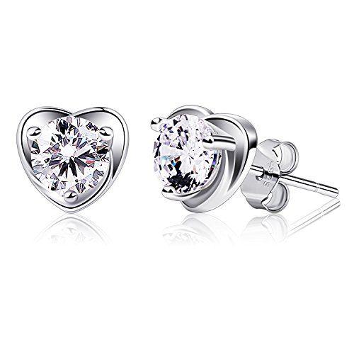 Earrings Women 925 Sterling Silver Stud Earrings for Women, JR INTL 6MM Round Cut Cubic Zirconia Earrings Stud with Gift Packed