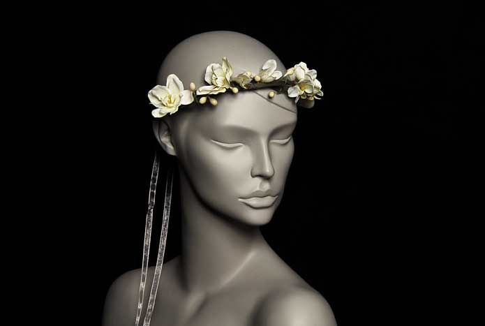 Wicked by Ipek Yaylacioglu Bridal millinery hats & hair accessory - Natural branches with ecru beads and flowers