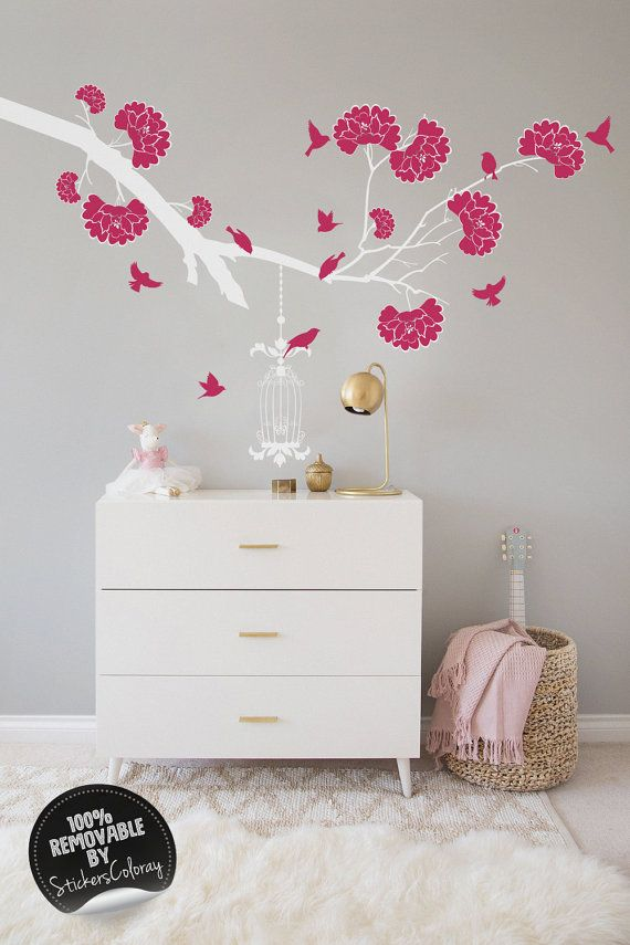 Branch with flowers wall decal, Reusable, Pink flowers, Tree with birds wall decor, Removable, Peel and Stick, Birdcages, Wall sticker #18