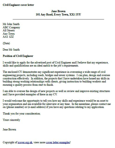 Civil Engineer Cover Letter Example Cover Letter