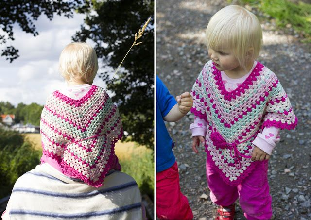 Poncho for little girls/Poncho till små flickor