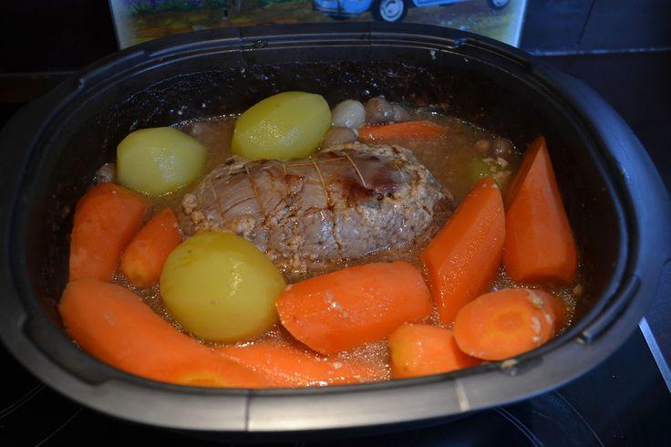 Rôti de veau à la bière avec ses carottes, et pommes de terre