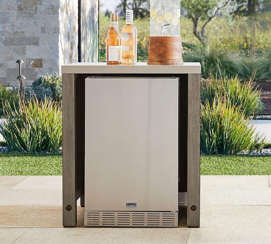 Abbott Outdoor Kitchen Refrigerator Double Door Cabinet Gray Wash Pottery Barn In 2020 Outdoor Kitchen Modular Outdoor Kitchens Refrigerator Cabinet