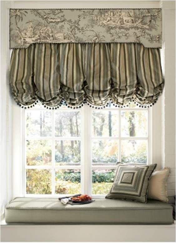 Operable Box Pleat Balloon Shade Under Cornice Box