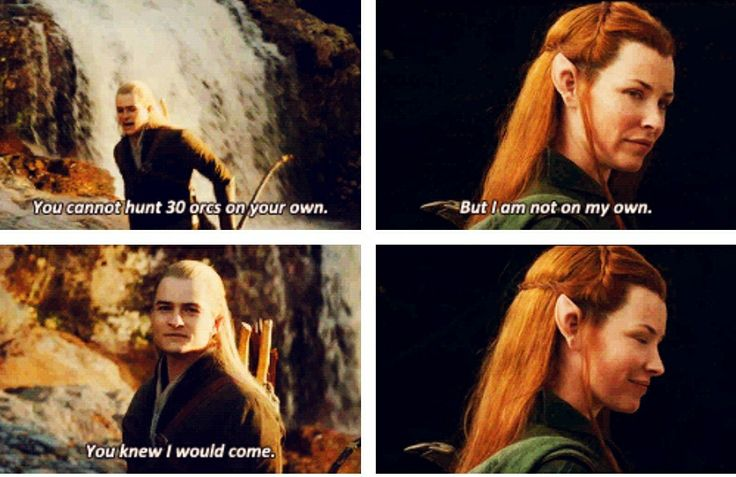 Legolas and Tauriel. Okay...I don't like them adding characters. I really don't like sissy excuses for romance. But...I really, really love this little exchange. And maybe this could work.