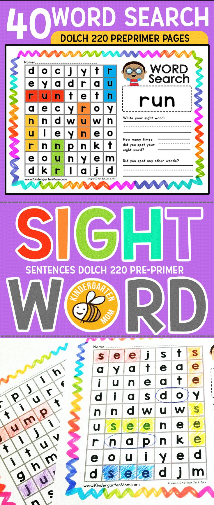 40 Sight Word Word Seach Activity Pages covering Dolce 220 PrePrimer Words. This set is perfect for Preschool and Kindergarten students. When laminated, these sheets would work well in your literacy center.   Learning Sight Words has never been so fun! Each page includes multiple ways to find the sight words, space to wite the sight word, and space to write other words found.