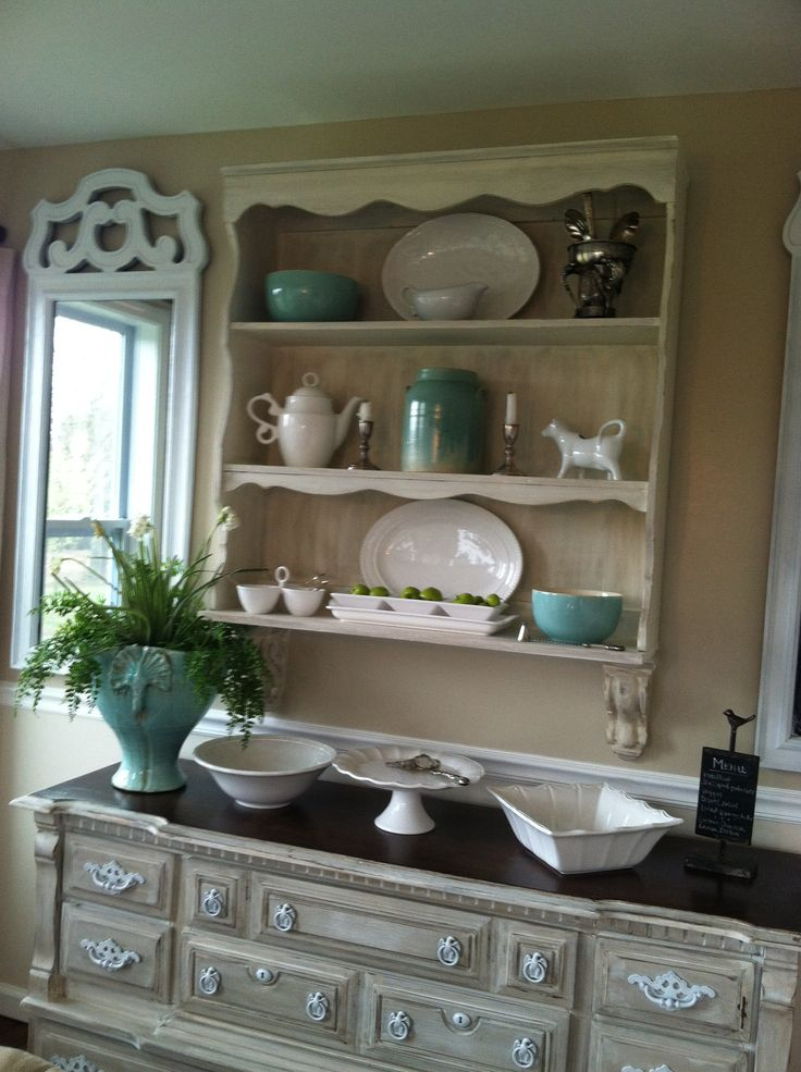 Aqua And Green Dining Room A Refinished Dresser Old Hutch Gives The Idea Of