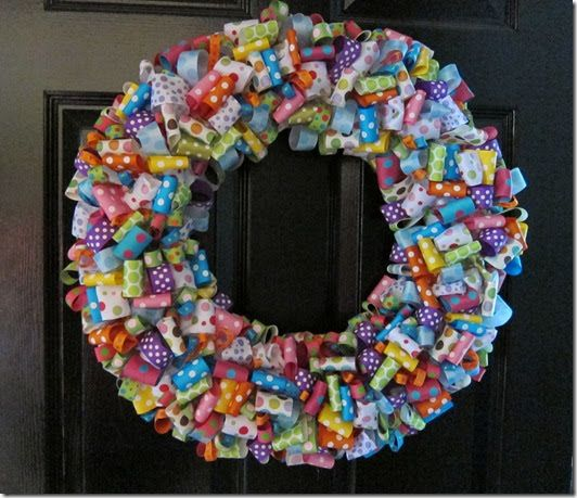 "Happy, cheery and fresh!  A ribbon wreath puts a smile on your guest's faces!     I used an 18"" straw wreath and left the plastic wrapping o..."