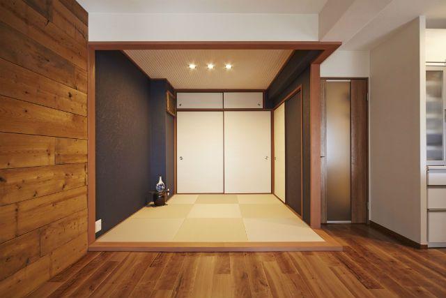 リフォームや改装・改築、リノベーションなど、大阪・兵庫・奈良で年間約7,000件の施工実績を誇る株式会社ナサホームの施工事例[和室リフォーム]の「ネイビーのアクセントクロスで和モダンな空間」ページです。