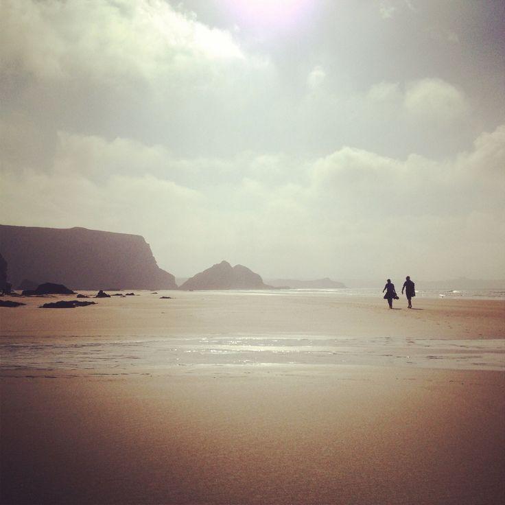 Beach walking, Watergate Bay, Cornwall