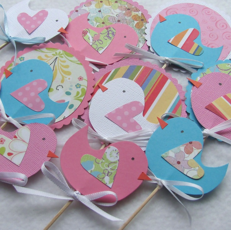 So cute!  Great idea for birthday parties :) Little Birdie Cupcake Toppers