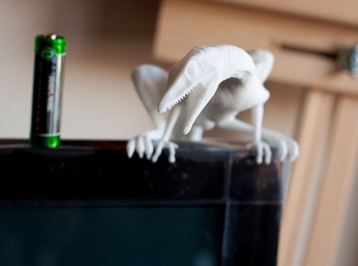 Compy dinosaur desktop figurine 3d printed Angry at AA battery
