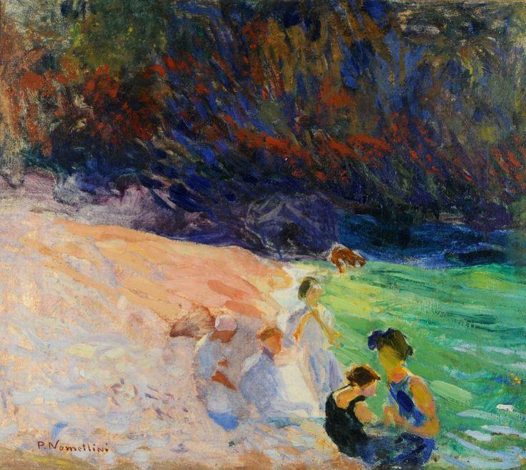 Plinio Nomellini  Bagnanti a Capri (Swimming in Capri) olio su tela cm 66x75,5