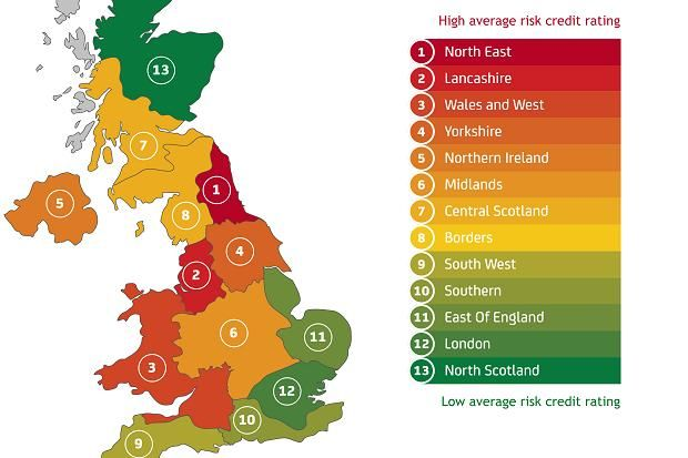 People in the North East have the lowest average credit scores in Britain, while those from the North of Scotland are considered the safest bet by lenders.