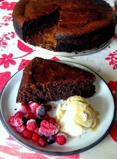 Gluten free chocolate cake on a Stephen Pearce plate