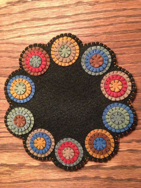 Wool Felt Penny Rug or Penny Mat Candle Mat Table by FolkHome