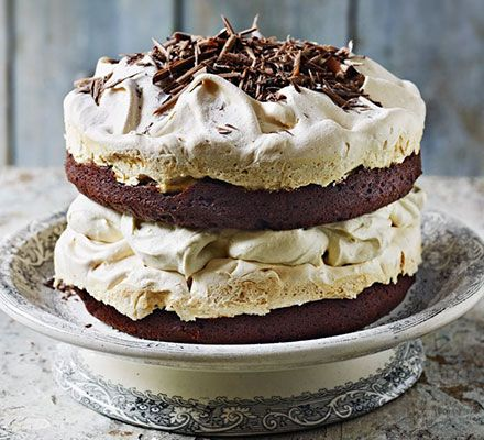 This towering cake has layers of chocolate sponge, meringue and chestnut cream - a stunning centrepiece for a festive dinner party